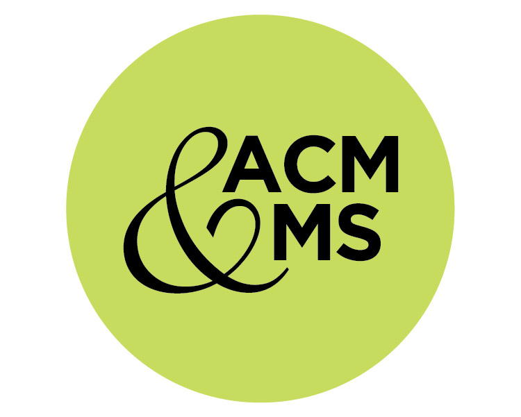 Pale green circle with black text in the center reading ACM&MS